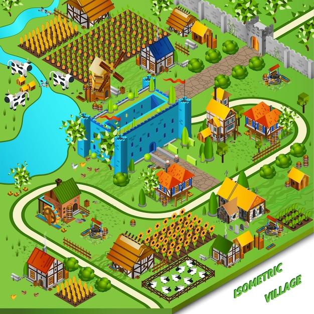 Средневековая деревня и замок иллюстрация