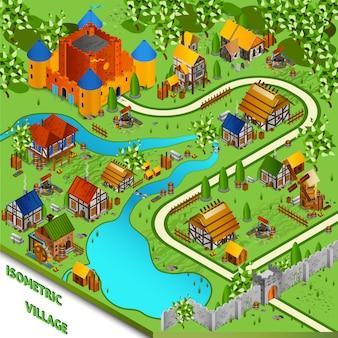 Средневековая деревня Изометрические Пейзаж