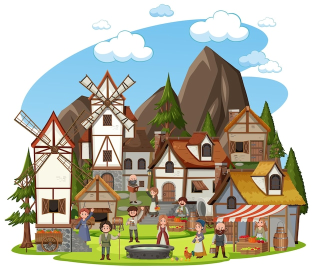 흰색 배경에 마을 사람들과 중세 마을