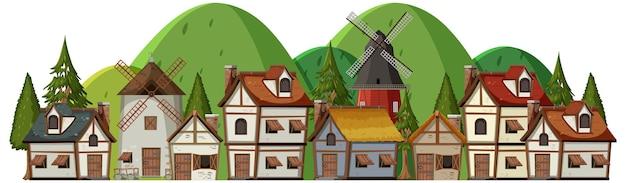 Средневековая деревня с сельскими жителями на белом фоне