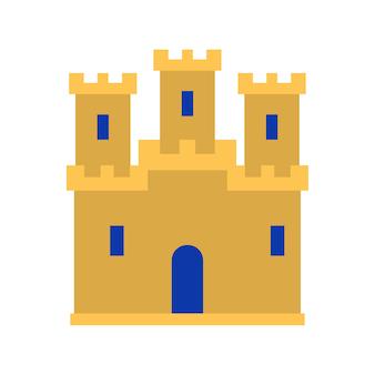 中世のヴィンテージの城のアイコン。要塞の壁と塔のアイコンが付いた中世の城。フラットベクトルイラスト