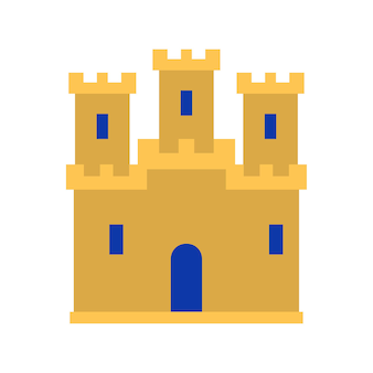 Medieval vintage castle icon. medieval castle with fortified wall and towers icon. flat vector illustration
