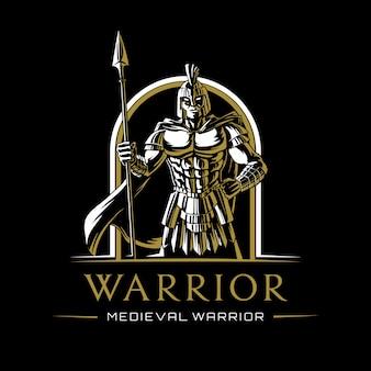 Medieval warrior illustration logo