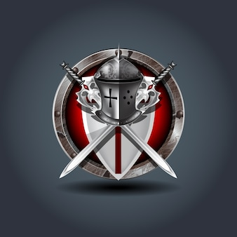 Medieval warrior knight helm with shield and swords
