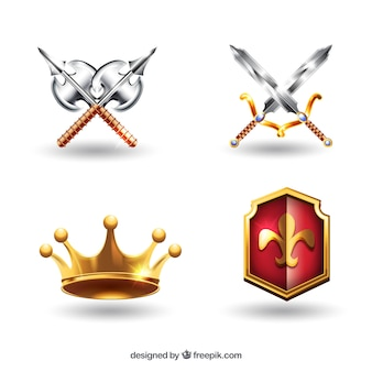 Medieval weapons and crown