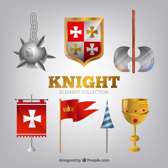 Medieval weapons and flags with realistic style
