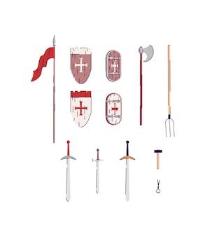 中世の武器と道具のセミフラットrgbカラーイラストセット。紋章入りの盾を持つ剣。スミスハマー。中年の楽器は、白い背景コレクションの漫画オブジェクトを分離