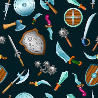 Medieval weapons seamless pattern