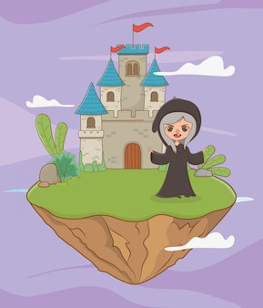 Medieval witch of fairytale design