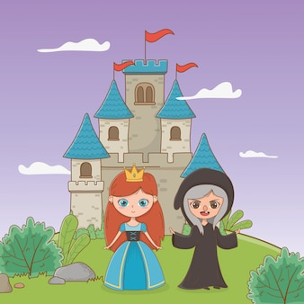 Medieval witch and princess of fairytale design