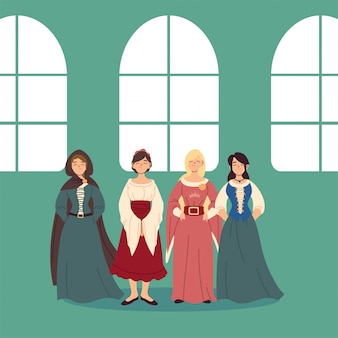 Medieval women with dresses design of kingdom and fairytale