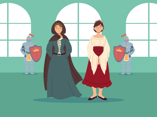 Medieval women with dresses and knights design of kingdom and fairytale