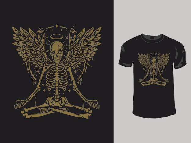 瞑想の天使の頭蓋骨のtシャツのデザイン