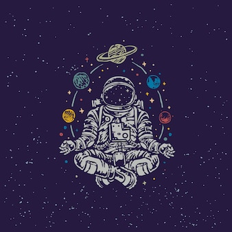 Meditating astronaut vintage old school illustration
