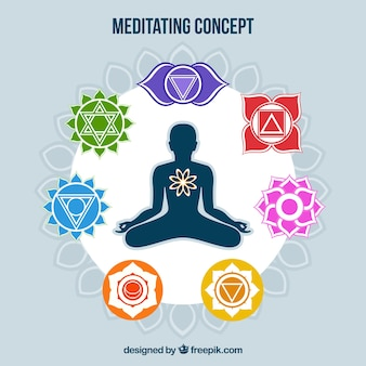 Meditating concept background