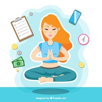 Meditating concept background