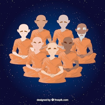 Meditating concept with budhist monks