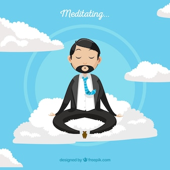 Meditating concept with businessman