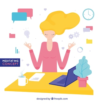 Meditating concept with businesswoman