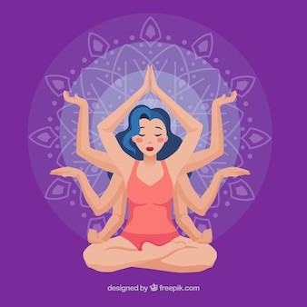 Meditating concept with ethnic style