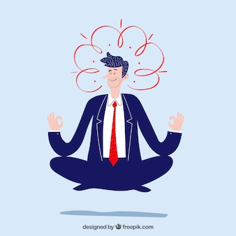 Meditating concept with flat businessman