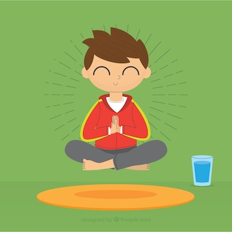 Meditating concept with flat design