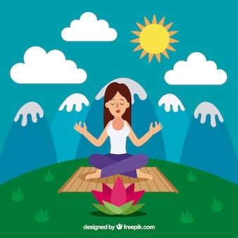 Meditating concept with flat design