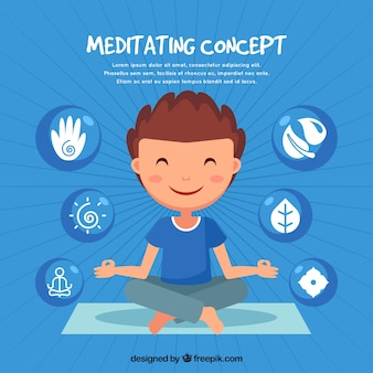 Meditating concept with hand drawn man