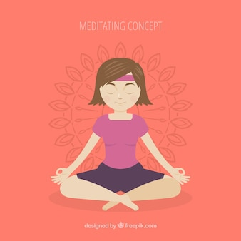 Meditating concept with hand drawn woman