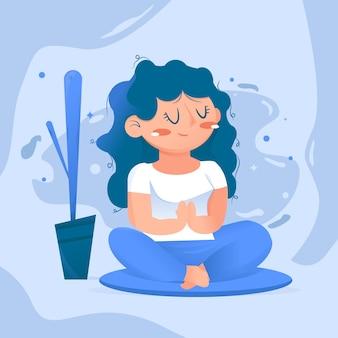 Медитирующая девушка концепция