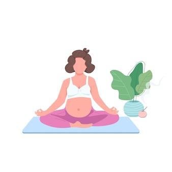 妊娠中の女の子のフラットカラーの顔のないキャラクターを瞑想します。蓮華座のお腹に期待。ウェブグラフィックデザインとアニメーションのための出生前のヨガの練習孤立した漫画のイラスト Premiumベクター