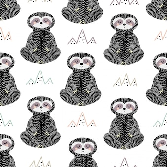 Meditating sloth seamless pattern