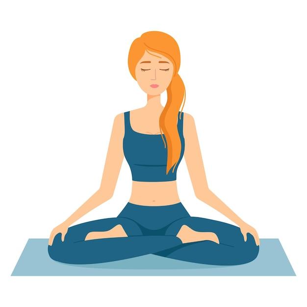 瞑想する女性。ヨガを練習している蓮華座の少女、ベクトル図