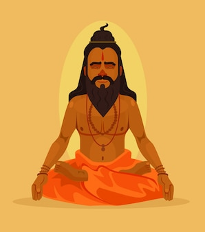Meditating yogi man character. flat cartoon illustration