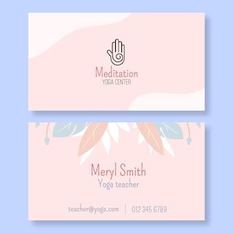 瞑想とマインドフルネス水平名刺テンプレート