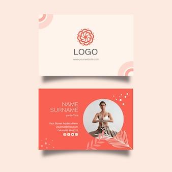 Шаблон горизонтальной визитки для медитации и осознанности