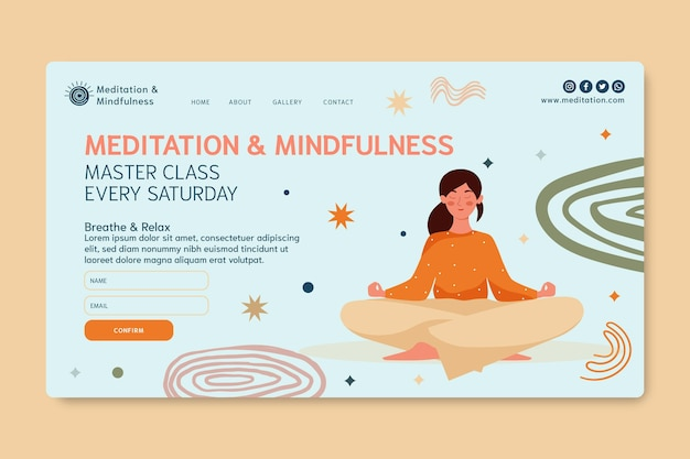 Целевая страница медитации и осознанности