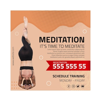 Квадратный флаер медитации и осознанности