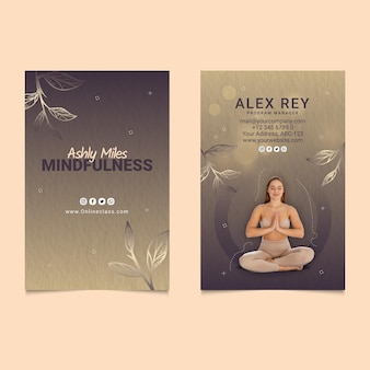 瞑想とマインドフルネスの縦型名刺