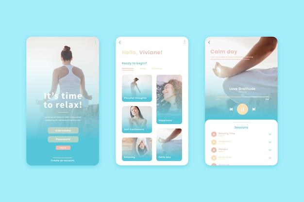 Meditation app interface concept