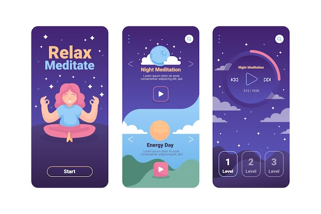 Meditation app interface template illustrated