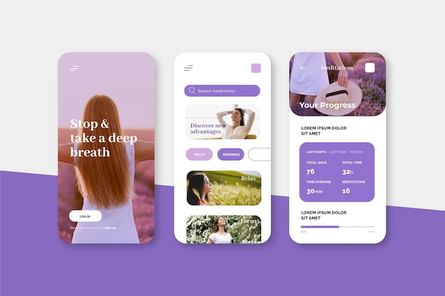 Meditation app screens