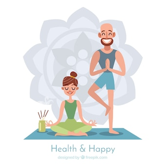 Meditation background with couple