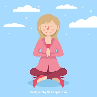 Meditation background with woman