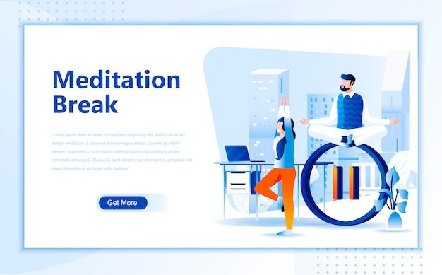 Meditation break flat landing page template of homepage
