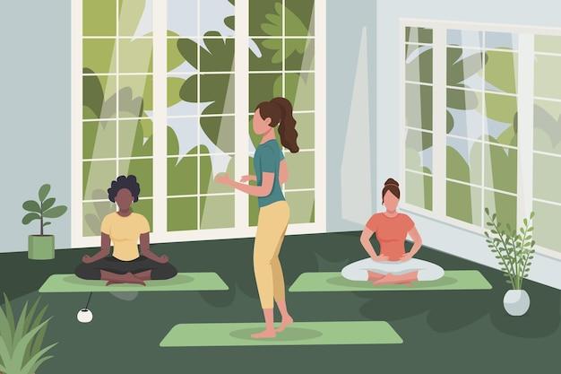 Meditation class flat illustration.