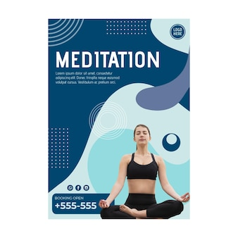 Meditation class flyer template with photo