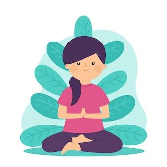 Meditation concept in flat design