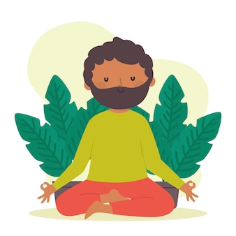 Концепция медитации в плоском дизайне