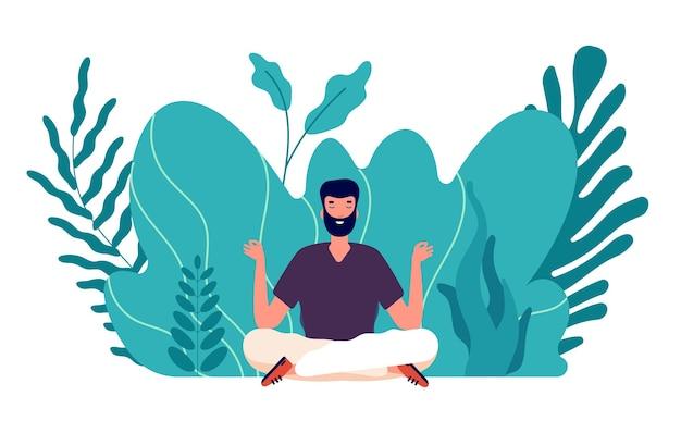 명상 개념. 인간은 치유되고 에너지 균형을 이루고 조화로운 삶을 찾습니다. 남성 선, 건강 및 웰빙. 사업 아이디어 벡터 일러스트 레이 션에 중점을 둡니다. 균형과 조화 포즈, 건강 휴식 요가